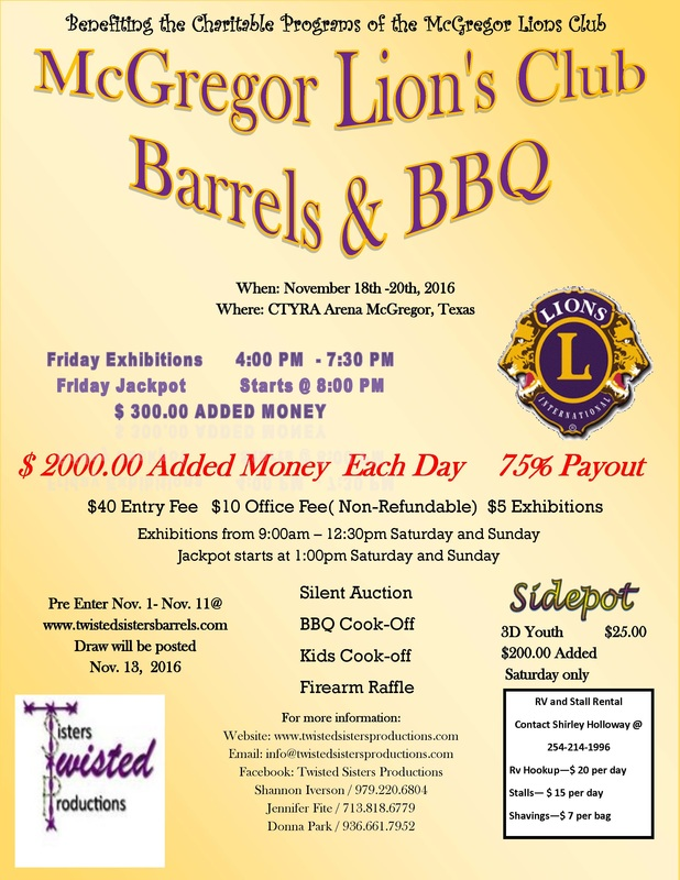 McGregor Lions Club - Twisted Sisters Productions - bbq benefit flyers