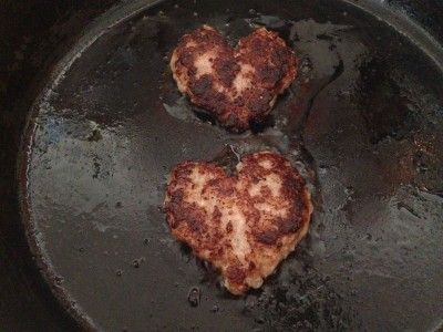 sausage hearts in pan