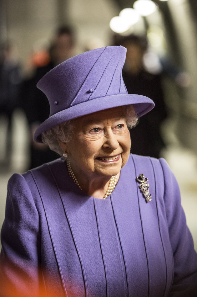 "LONDON, UNITED KINGDOM - FEBRUARY 23: Queen Elizabeth visits the new Crossrail Bond street station which is still under construction on February 23, 2016 in London, England. The Queen unveiled the new roundel for the Crossrail line that is to be renamed the ""Elizabeth line"" from December 2018 when the line opens to passengers in the capital. (Photo by Richard Pohle - WPA Pool/Getty Images)"