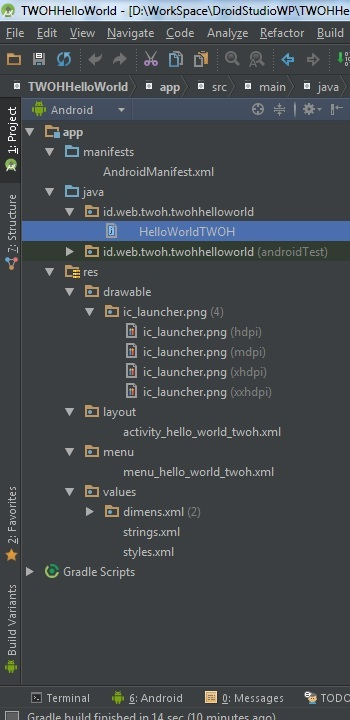 Android Studio app structure