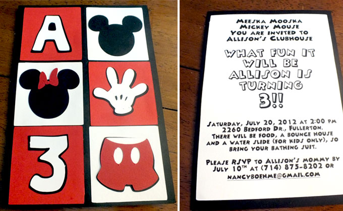 Mickey Mouse Party Invitations - Two Sisters - unique mickey mouse invitations