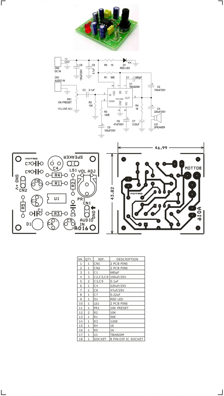 2w Pa246 Amplifier Circuit Auto Electrical Wiring Diagram Power Super Small Bcl 12w By Ic Tda7052 1 Audio Using Tba820