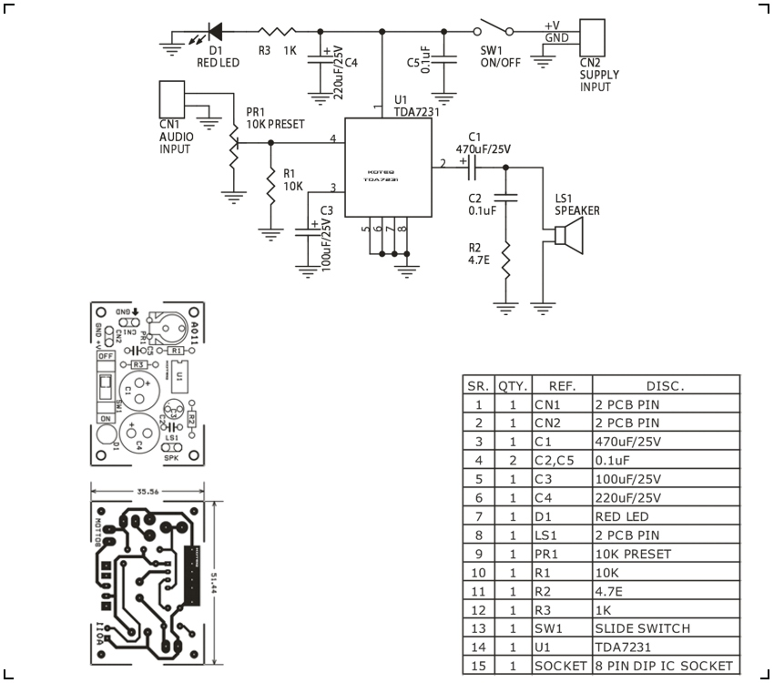 audio amplifier circuit using tda7231