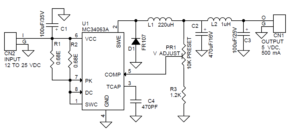 dc to dc step down voltage regulator by ic lm2575 1a