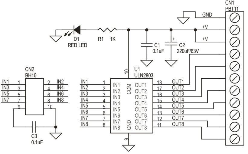 uln2803 stepper motor circuit