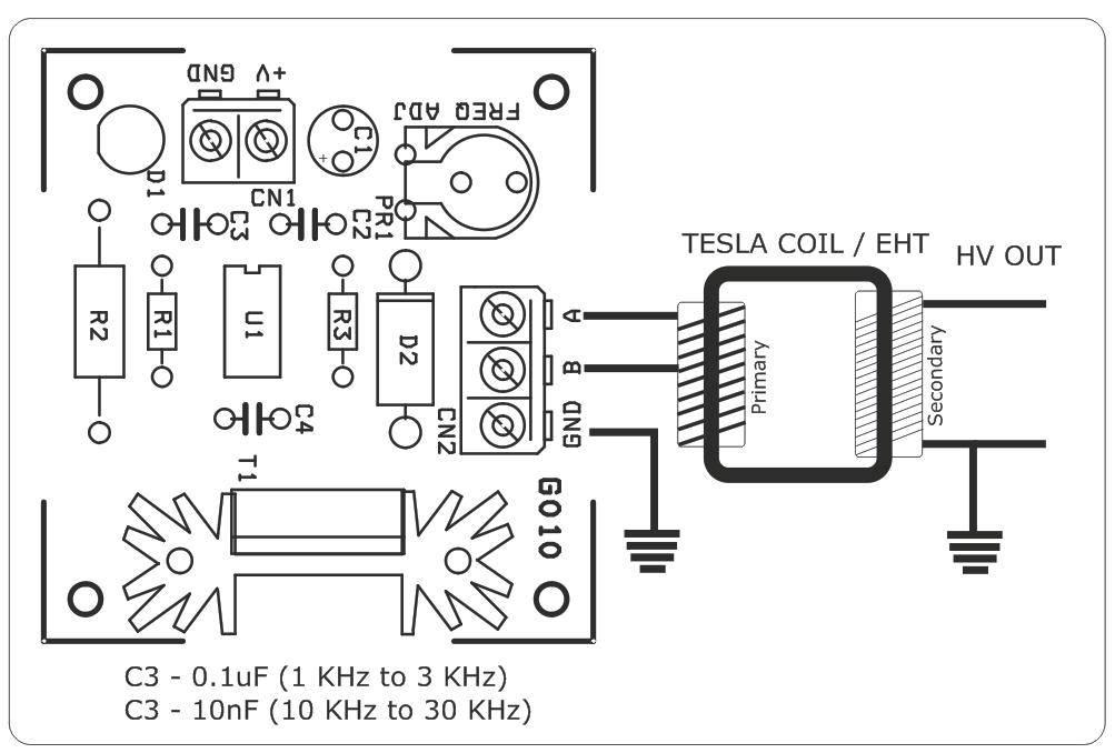 schematic of solid state tesla coil sstc with igbt