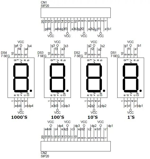 4 Digit 7 Segment 05 Inch Display Circuit  PCB Layout - Circuit