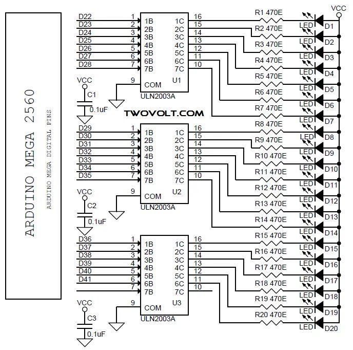 led knight rider using 4017 circuit diagram