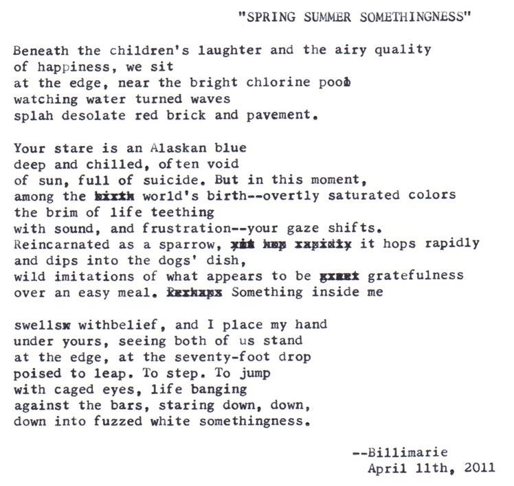 """Spring Summer Somethingness"" by billimarie typewriter poetry"