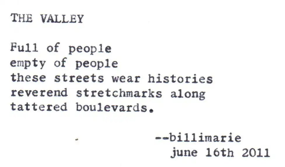 """""""The Valley"""" by billimarie typewriter poetry"""