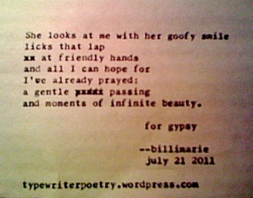 """""""For Gypsy"""" by billimarie ~ typewriter poetry poems"""