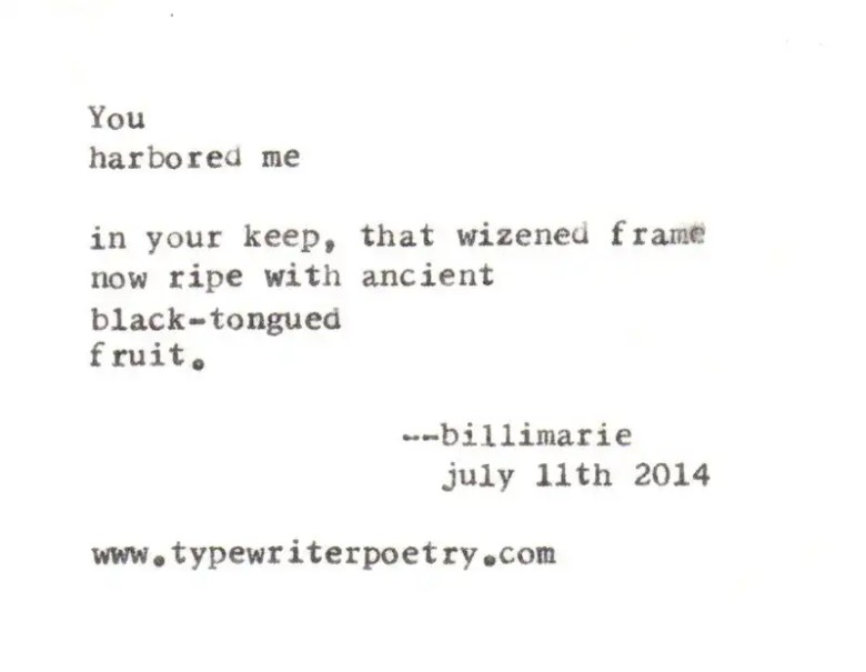 """""""Untitled"""" (July 11th 2014) by billimarie typewriter poetry"""