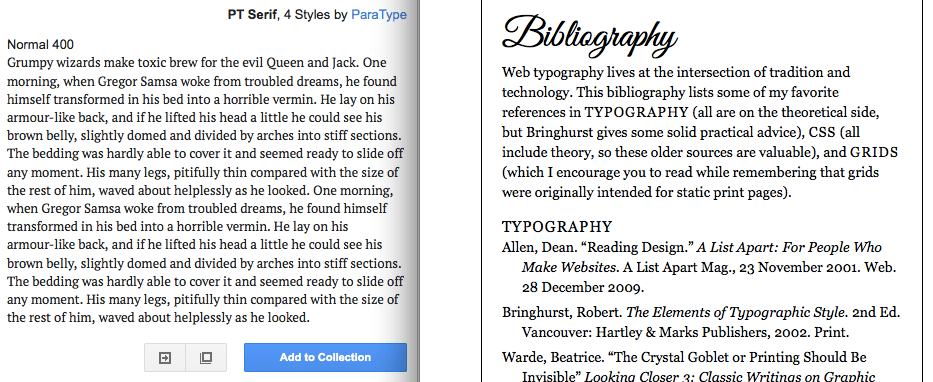 comparing display font with a google text font