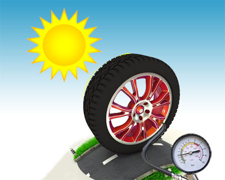 Tyre pressure during the hot summer days