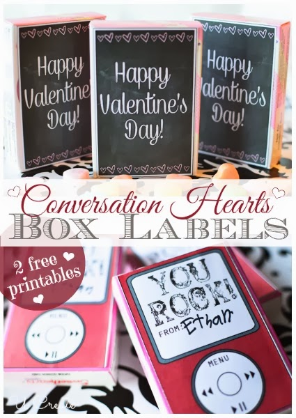 Box Labels for Valentine Conversation Hearts - U Create