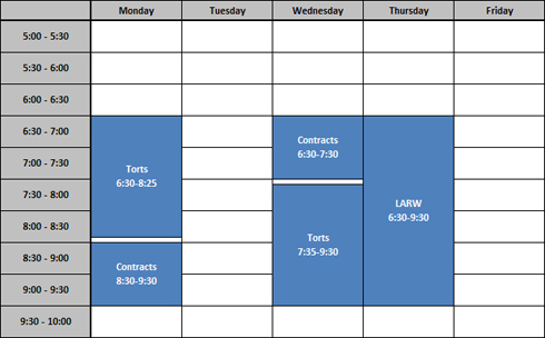 Sample schedule  The University of Akron - sample schedules - class schedule