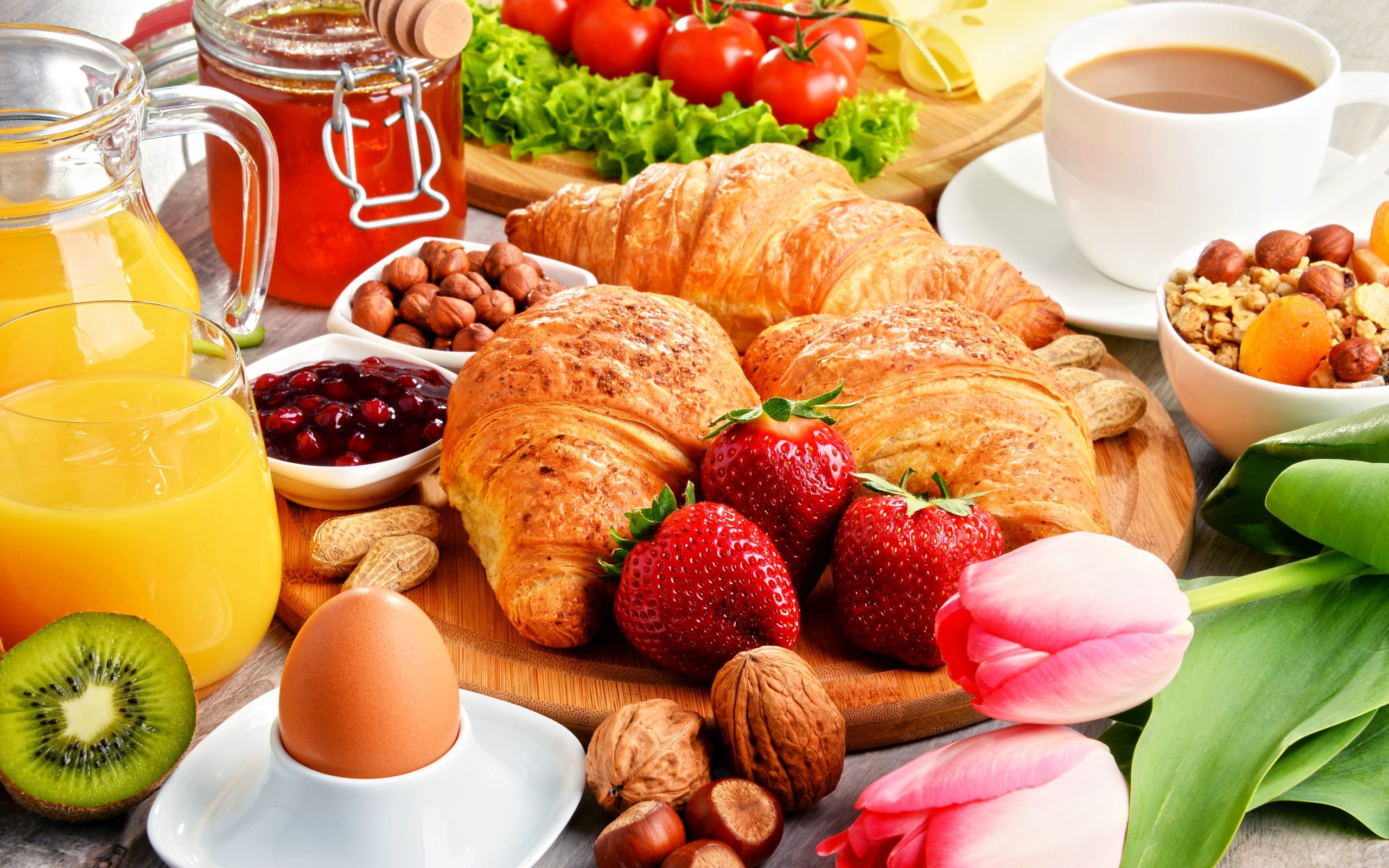 Best Anime Wallpaper Hd Wallpaper Breakfast Coffee Croissant Fruit Still Life