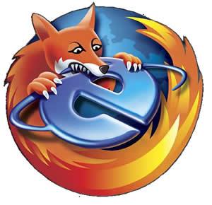 Logo de Firefox sobre Internet Explorer
