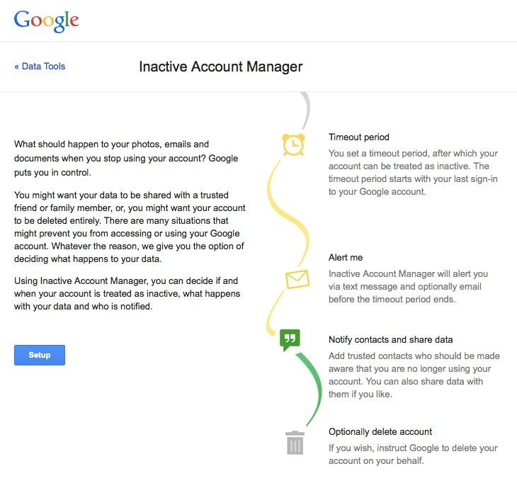 google cuenta inactiva Settings