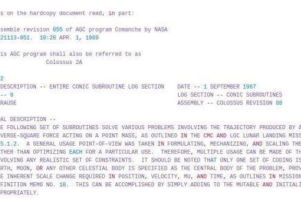 Código fuente original del sistema de orientación del Apollo XI disponible en GitHub