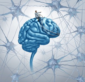a man riding a brain like a horse with neurons in the background