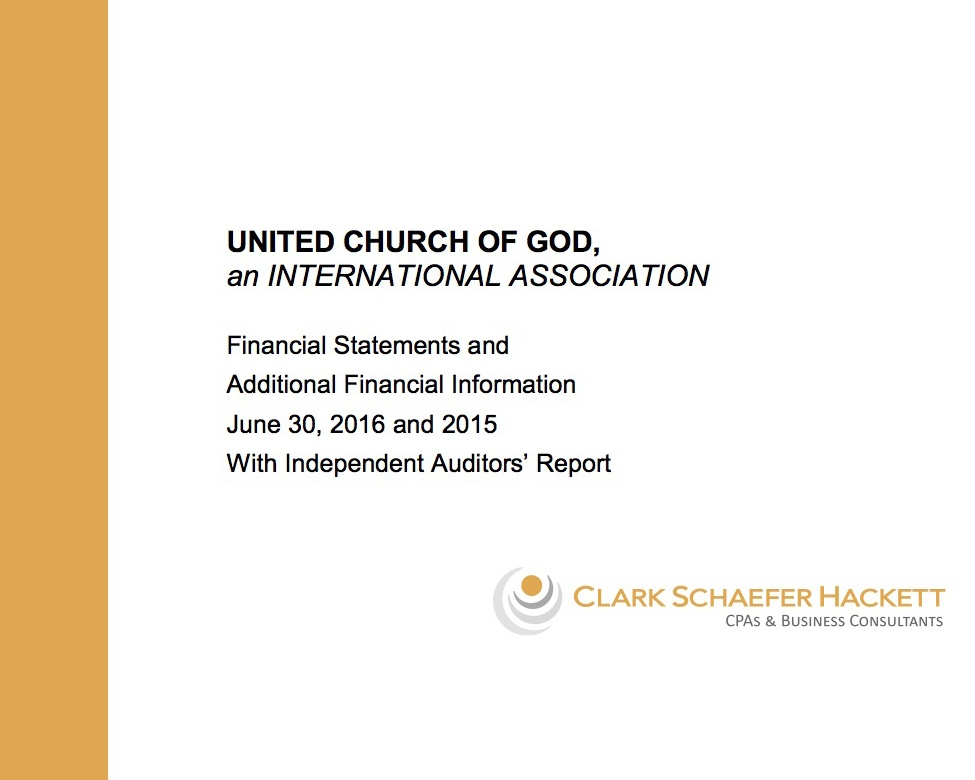 Audited Financial Statements for 2015-2016 United Church of God - financial statements
