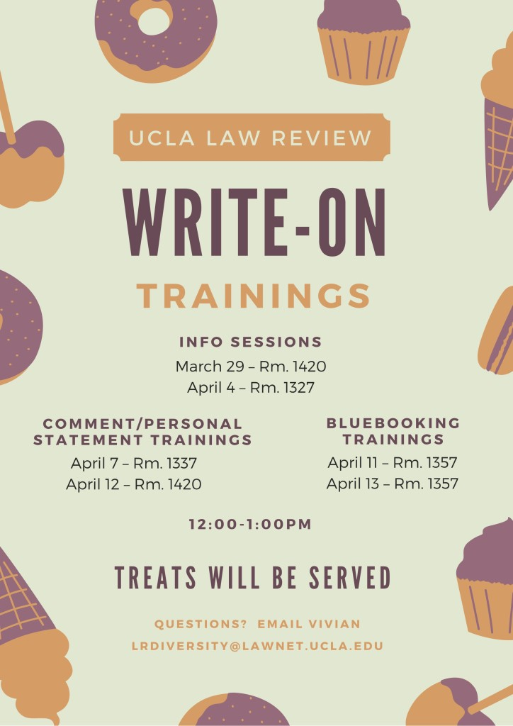 UCLA Law Review Write-On Flyer - UCLA Law Review - how to write a flyer