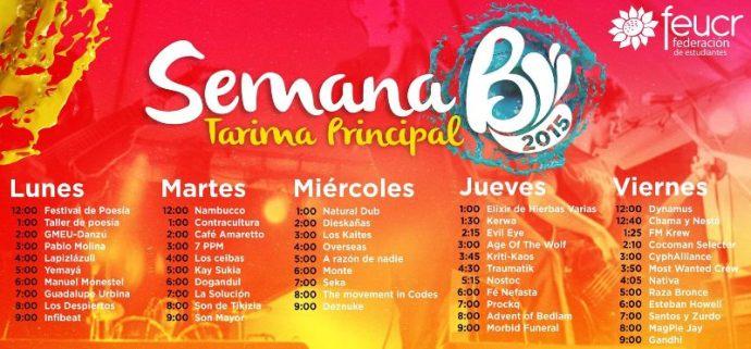 Programa de los conciertos que organizaron la Federación de Estudiantes de la Universidad de Costa Rica (foto: cortesía FEUCR).