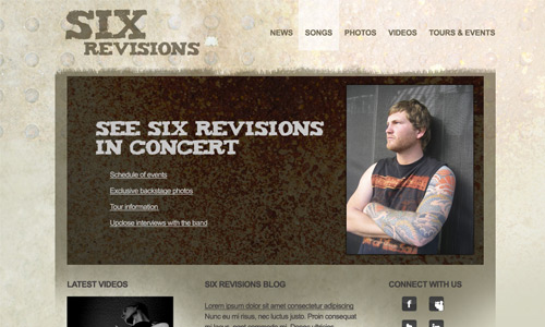 band website layout design