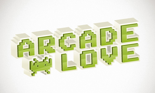 retro 3d arcade text effect