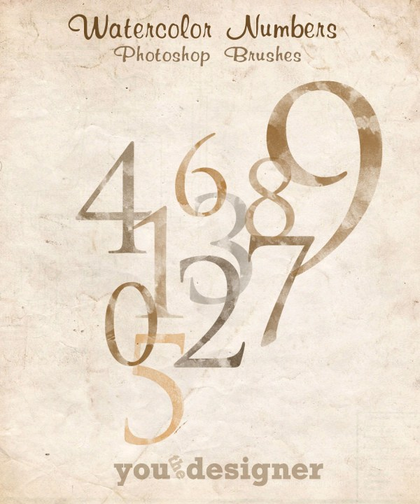 Watercolor Numbers Photoshop Brushes by YouTheDesigner.com