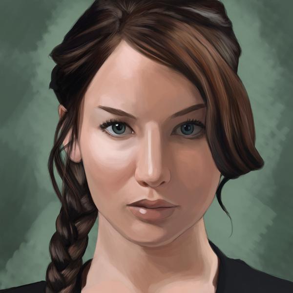 Jennifer Lawrence Digital Painting by Maartje van Hoorn