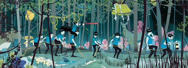 """""""Navigating Through Uncertainty,"""" Plansponsor Magazine   Ilustration by Marcos Chin"""