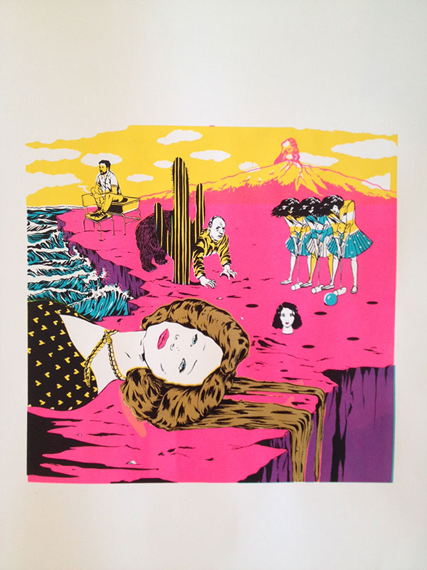 """""""When the Earth was Still Flat,"""" (4 colour silkscreen) Sundance Film Festival A to Z/Todd Oldham Studios   Illustration by Marcos Chin"""