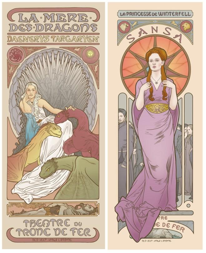 GoT Art Nouveau Posters by Ellin Jonsson