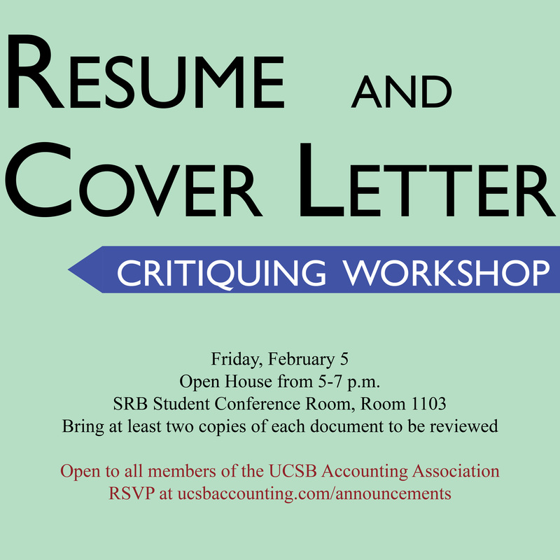 Workshop Resume and Cover Letter Critiquing - UNDERGRADUATE