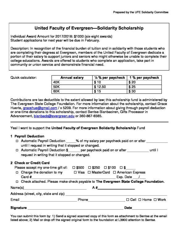 UFE Scholarship Deduction Form The United Faculty of Evergreen