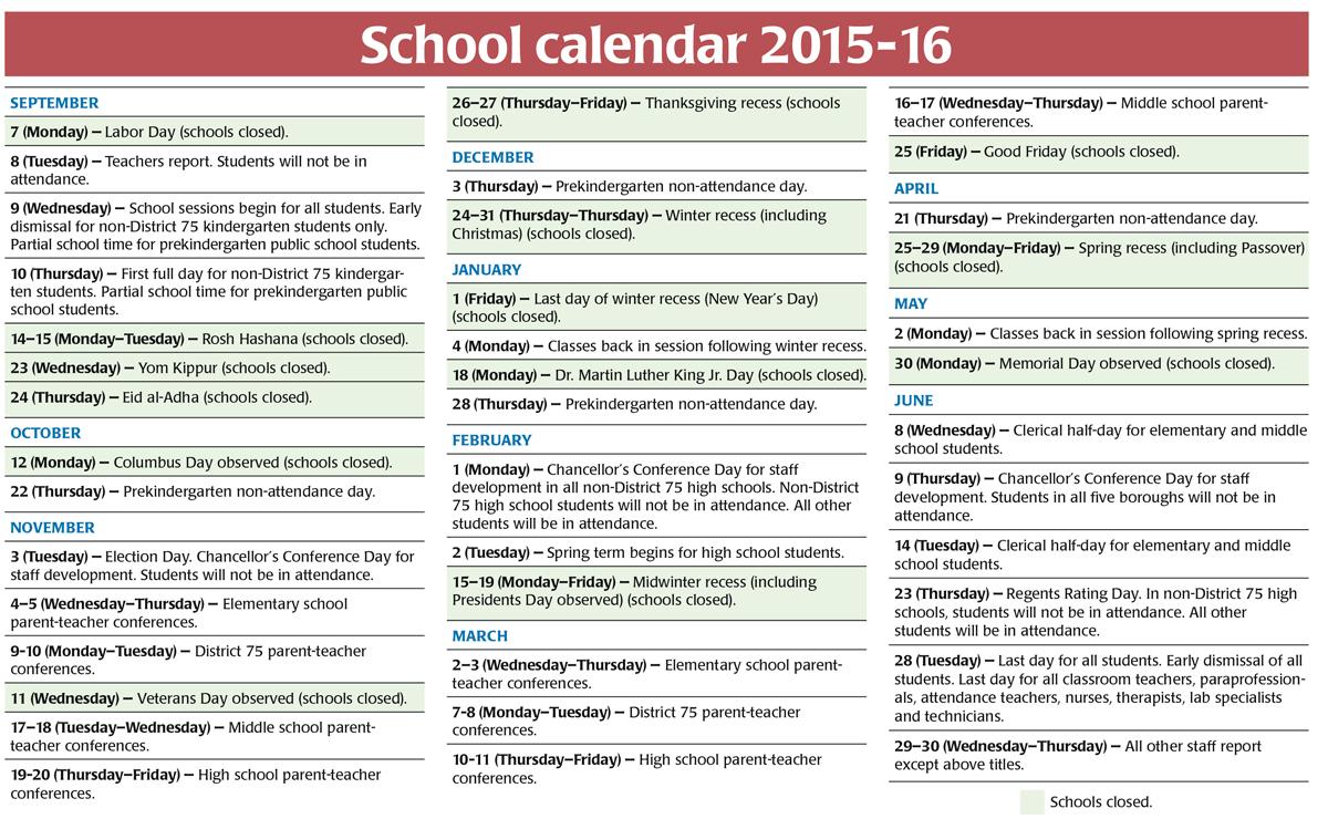 New York Doe Calendar 2015 2015 16 New York City School Calendar United Federation Nyc School Calendar 2017 16 Calendar 2017