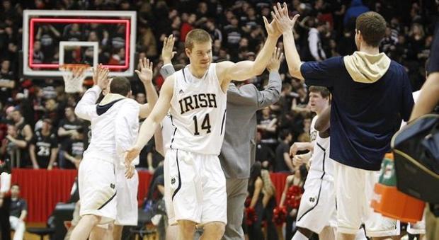 Notre Dame Basketball - Scott Martin celebrates victory over Cincinnati Bearcats