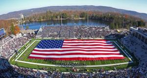 Nov 17, 2012; West Point, NY, USA; A large American flag is displayed by West Point cadets during halftime ceremonies honoring the military during a game between the Army Black Knights and Temple Owls at Michie Stadium. Mandatory Credit: Danny Wild-USA TODAY Sports