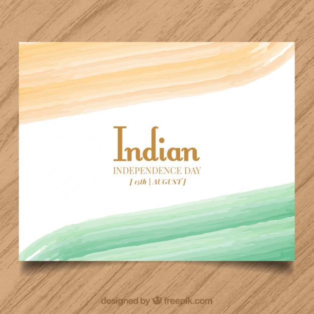 Hand painted indian independence day card free vectors UI Download