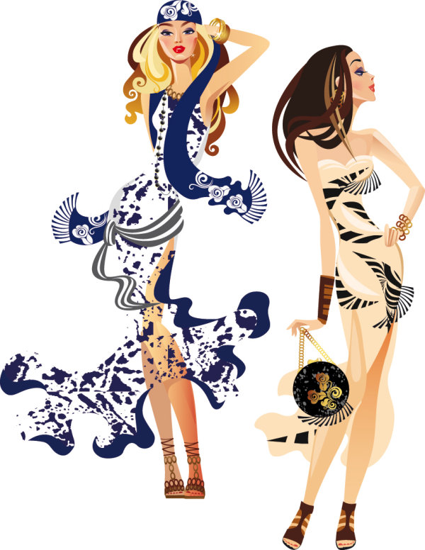 Female fashion illustrator 04 - vector free vectors UI Download