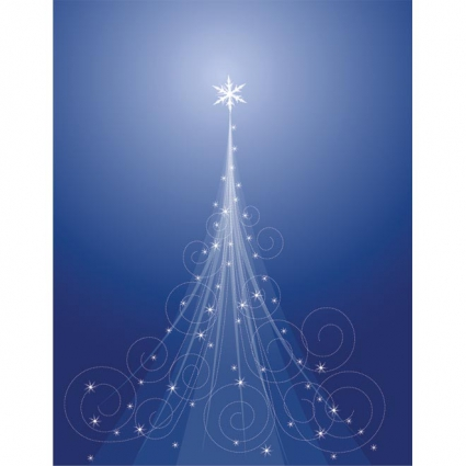 Abstract floral art christmas tree on blue background vector free
