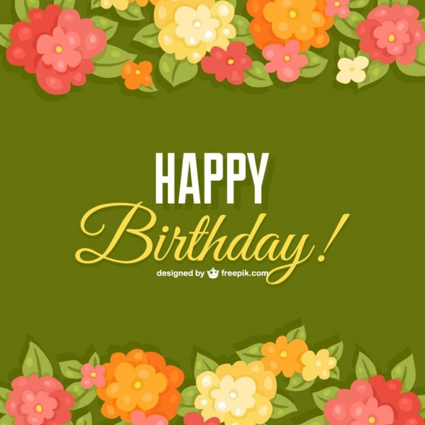 Birthday Flowers Card Template Free Vector free vectors UI Download