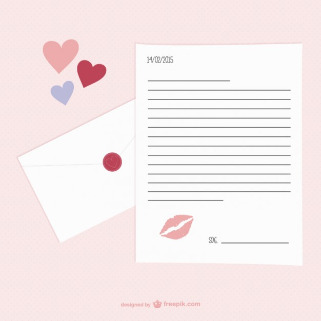 Valentine\u0027s Day letter template free vectors UI Download