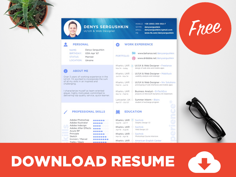 FREE Resume Template Download PSD + Sketch free psd UI Download
