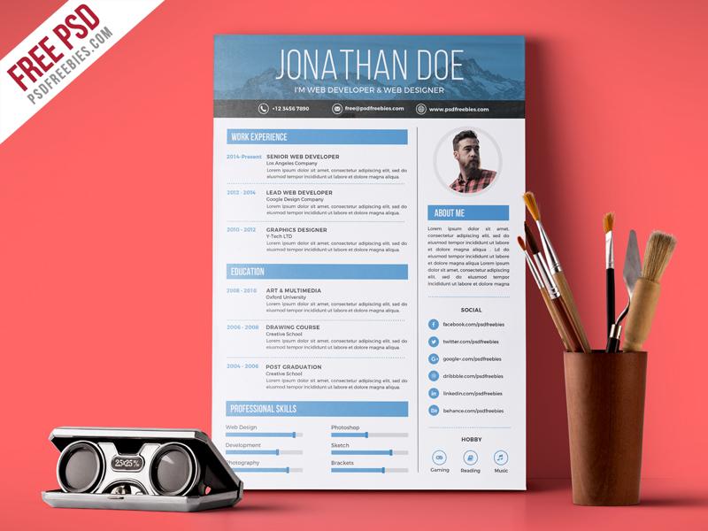 Free PSD  Creative Graphic Designer Resume PSD Template free - resume graphic designer