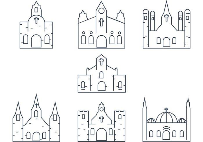 Vector Church Outline free vectors UI Download