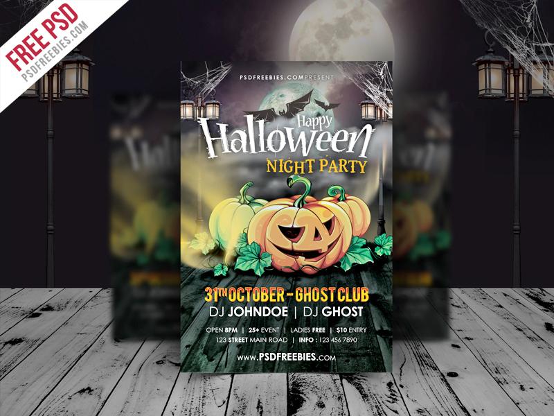 Freebie  Halloween Night Party Flyer Template PSD free psd UI