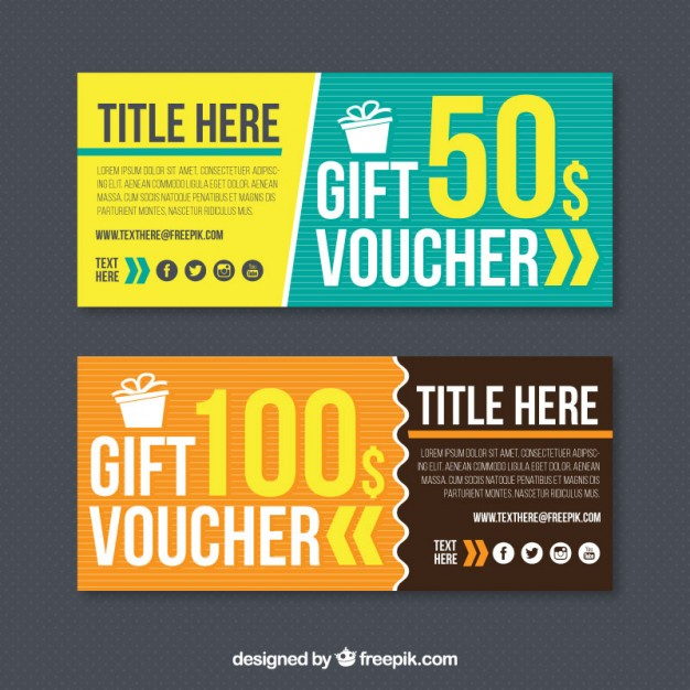 Set of two gift vouchers free vectors UI Download